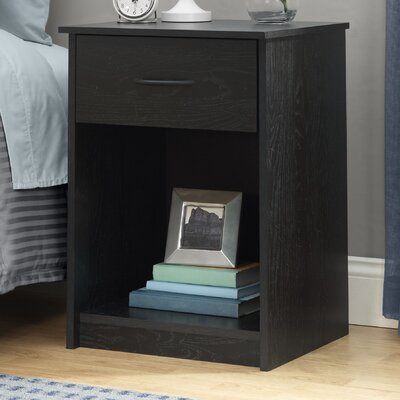 1 Drawer Nightstand Finish Black Ebony Ash
