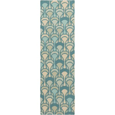 Voyages Teal Geometric Area Rug Rug Size: Runner 26 x 8