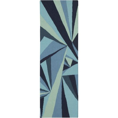 Voyages Navy Geometric Area Rug Rug Size: Runner 26 x 8