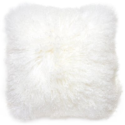 Mongolian Lamb Hair Pillow Color: White