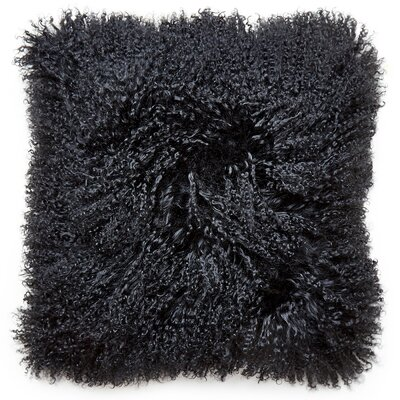 Mongolian Lamb Hair Pillow Color: Black