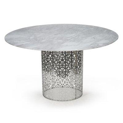 Nixon Dining Table Base Finish: Nickel, Top Finish: Marble