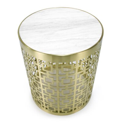 Nixon Side Table Finish: Brushed Brass Base with Marble Top