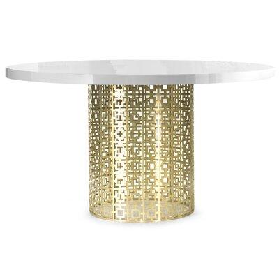 Nixon Dining Table Base Finish: Brass, Top Finish: Marble