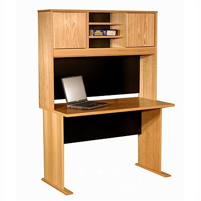 Superb Oak Veneer Desk Shell Hutch Product Photo
