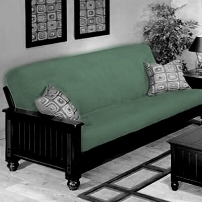 Box Cushion Futon Slipcover Upholstery: Sea Green