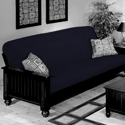 Box Cushion Futon Slipcover Upholstery: Navy