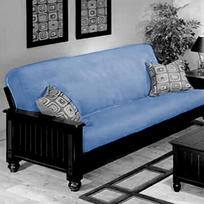Box Cushion Futon Slipcover Upholstery: Sky Blue
