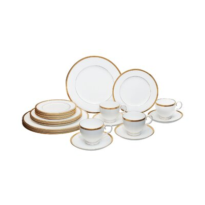 Rochelle Gold Bone China 20 Piece Dinnerware Set, Service for 4 037725307190