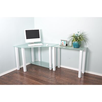 Furniture-RTA Home And Office White Lines Computer Desk with Extension and Shelf