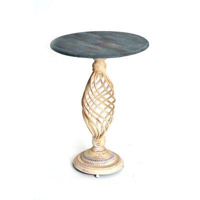 Haven Pedestal End Table Finish: Beige / Blue
