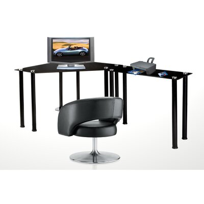 RTA Home And Office CT Computer/Laptop Desk Corner Computer Desk with Right Extension Table - Glass: Black at Sears.com