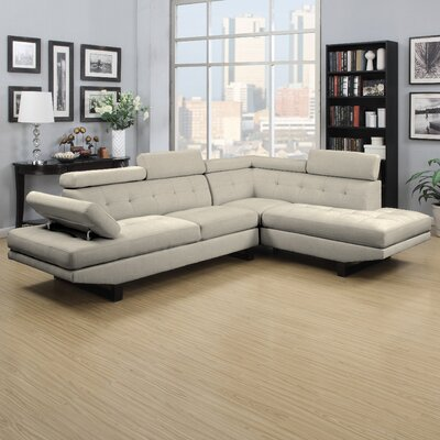 Handy Living FNT-SEC-LIN82 Fontaine Sectional Upholstery