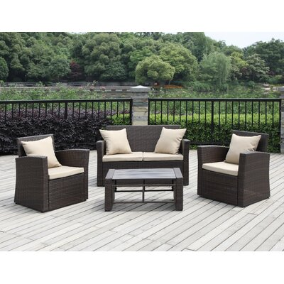 Image of La Jolla 4 Piece Sofa Set with Cushions Frame Color: Beige