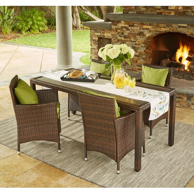 Yale Indoor/Outdoor 5 Piece Dining Set with Cushions Cushion Color: Cilantro, Finish: Brown