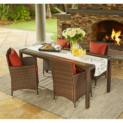 Yale Indoor/Outdoor 5 Piece Dining Set with Cushions Cushion Color: Terracotta, Finish: Brown