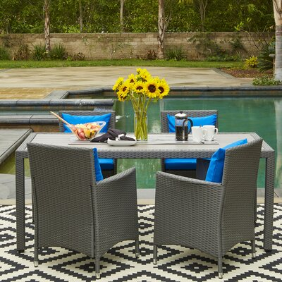 Yale Indoor/Outdoor 5 Piece Dining Set with Cushions Finish: Gray, Cushion Color: Pacific Blue
