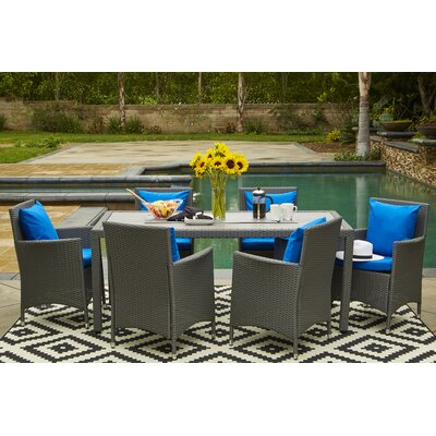 Yale 7 Piece Dining Set with Cushions Finish: Gray, Cushion Color: Pacific Blue