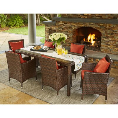Yale 7 Piece Dining Set with Cushions Finish: Brown, Cushion Color: Terracotta