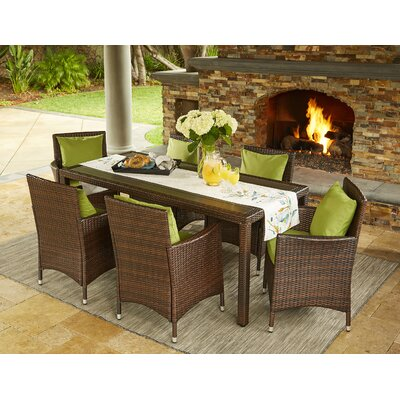 Yale 7 Piece Dining Set with Cushions Finish: Brown, Cushion Color: Cilantro