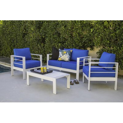 Azha 4 Piece Deep Seating Group with Cushion Fabric: Pacific Blue
