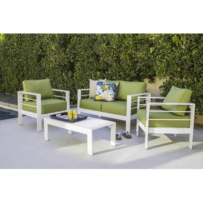Azha 4 Piece Deep Seating Group with Cushion Fabric: Cilantro