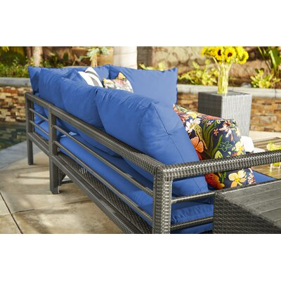 Ellie Indoor/Outdoor Woven Resin Rattan Sectional With Cushions Cushion Color: Blue