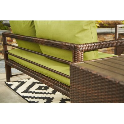 Ellie Indoor/Outdoor Woven Resin Rattan Sectional With Cushions Cushion Color: Brown