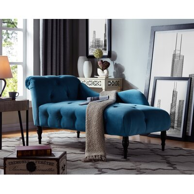 Dagnall Fabric Chaise Lounge Upholstery: Turquoise Blue