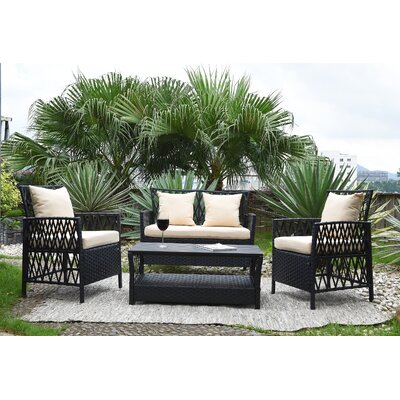 Ackerson Indoor/Outdoor Woven Resin 4 Piece Rattan Conversation Set with Cushions Cushion Color: Beige