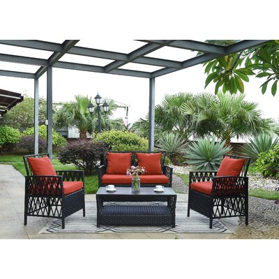 Ackerson Indoor/Outdoor Woven Resin 4 Piece Rattan Conversation Set with Cushions Cushion Color: Terracotta
