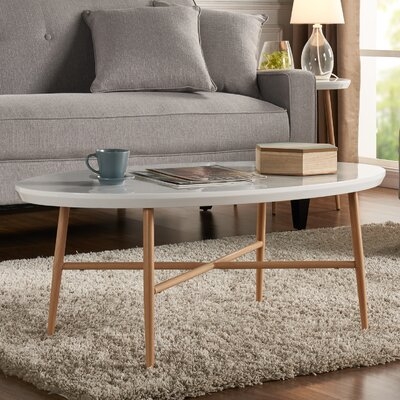 Umstead Oval Engineered Wood Coffee Table Base Finish: Light Oak