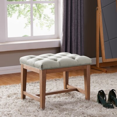Mia Wood Upholstered Top Cube Ottoman Color: Fawn/Gray