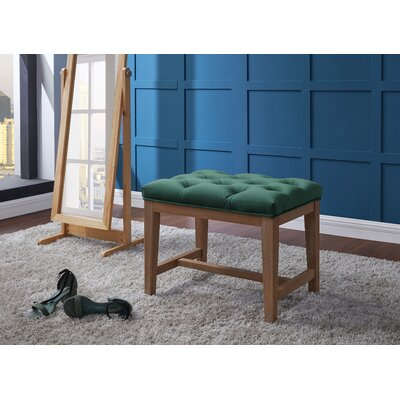 Mia Wood Upholstered Top Cube Ottoman Color: Turquoise/Blue