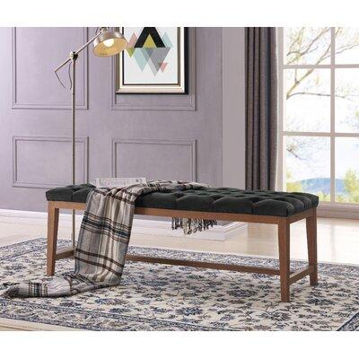 Mia Wood Upholstered Top Bench Ottoman Color: Charcoal/Gray