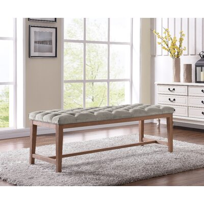 Mia Wood Upholstered Top Bench Ottoman Color: Fawn/Gray
