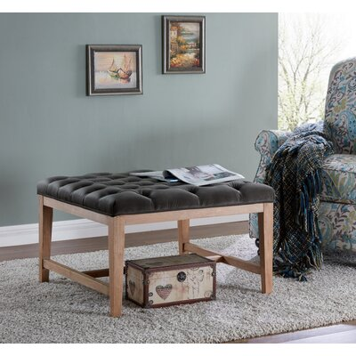 Mia Wood and Upholstered Top Bench Ottoman Color: Charcoal/Gray