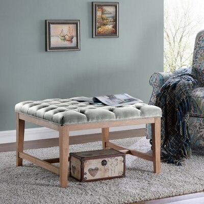 Mia Wood and Upholstered Top Bench Ottoman Color: Fawn/Gray