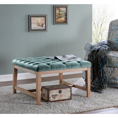 Mia Wood and Upholstered Top Bench Ottoman Color: Turquoise/Blue