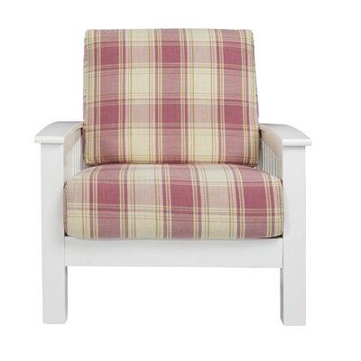 Deschambault Armchair Upholstery: Pink Plaid, Finish: White