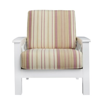 Deschambault Armchair Upholstery: Pink Stripe, Finish: White