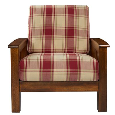 Deschambault Armchair Upholstery: Red Plaid, Finish: Cherry