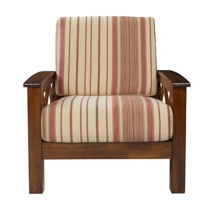 Deschambault Armchair Upholstery: Red Stripe, Finish: Cherry