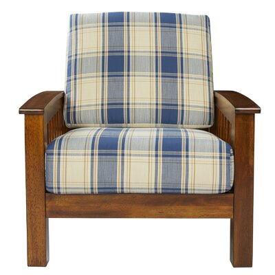 Deschambault Armchair Upholstery: Blue Plaid, Finish: Cherry