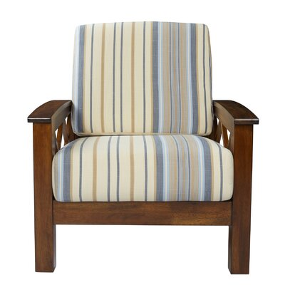 Deschambault Armchair Upholstery: Blue Stripe, Finish: Cherry
