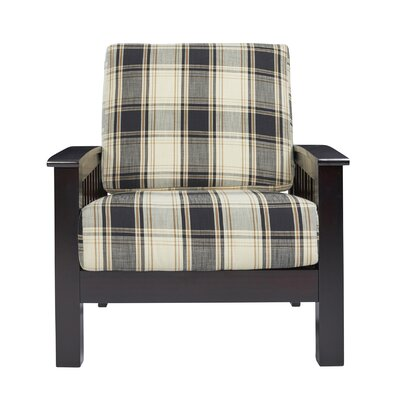 Deschambault Armchair Upholstery: Brown/Black Plaid, Finish: Dark Espresso