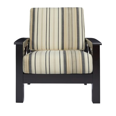 Deschambault Armchair Upholstery: Brown/Black Stripe, Finish: Dark Espresso