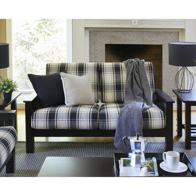 Greenbaum Loveseat Upholstery: Blue, Finish: Cherry