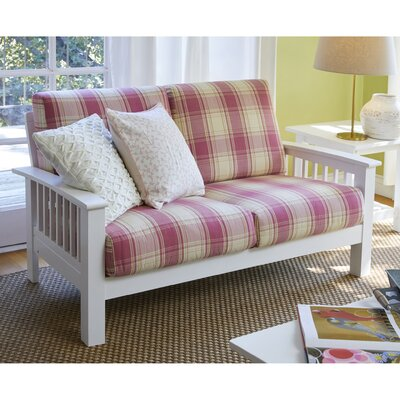 Greenbaum Loveseat Upholstery: Pink, Finish: White