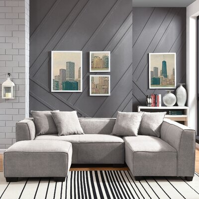 Carmean Modular Sectional with Ottoman Upholstery : Light Gray